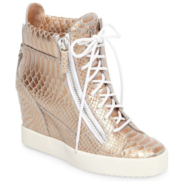 Giuseppe Zanotti lamay lorenz high top wedge sneaker in rose gold - Croc-embossed leather burnished in silvers and coppers...