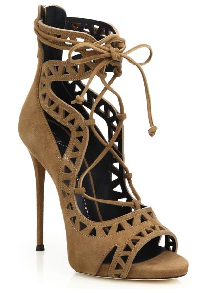 GIUSEPPE ZANOTTI laser-cut suede lace-up sandals in luggage - Alluring suede lace-up sandal with laser-cut triangles....