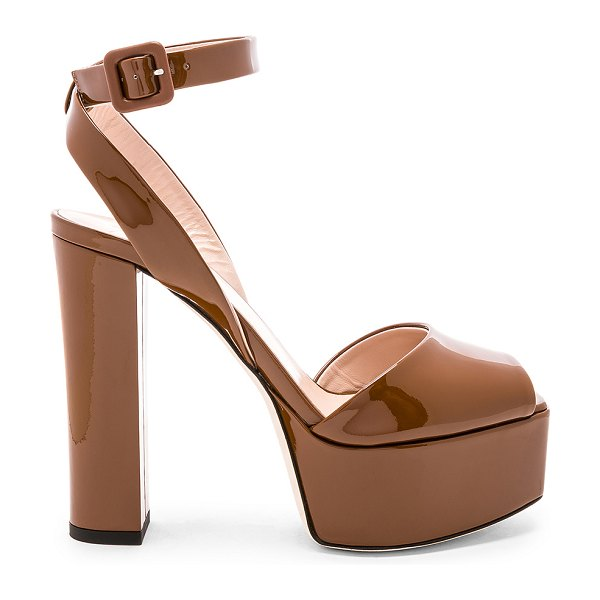 "Giuseppe Zanotti Lavina Platform Heel in brown - ""Patent leather upper with leather sole. Ankle strap..."