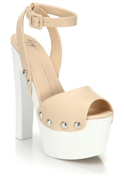 GIUSEPPE ZANOTTI Leather clog platform sandals - Contrast platform lifts leather clog silhouetteCovered...