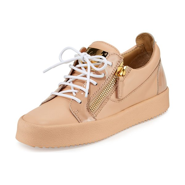 Giuseppe Zanotti London Leather Side-Zip Sneakers in pink - Giuseppe Zanotti patent and matte leather low-top...