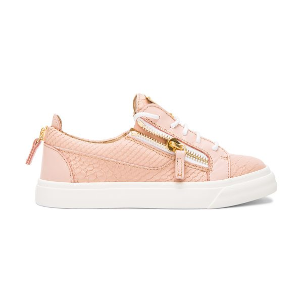 Giuseppe Zanotti Low top snakeskin embossed leather sneakers in pink,animal print - Snakeskin embossed leather upper with rubber sole.  Made...
