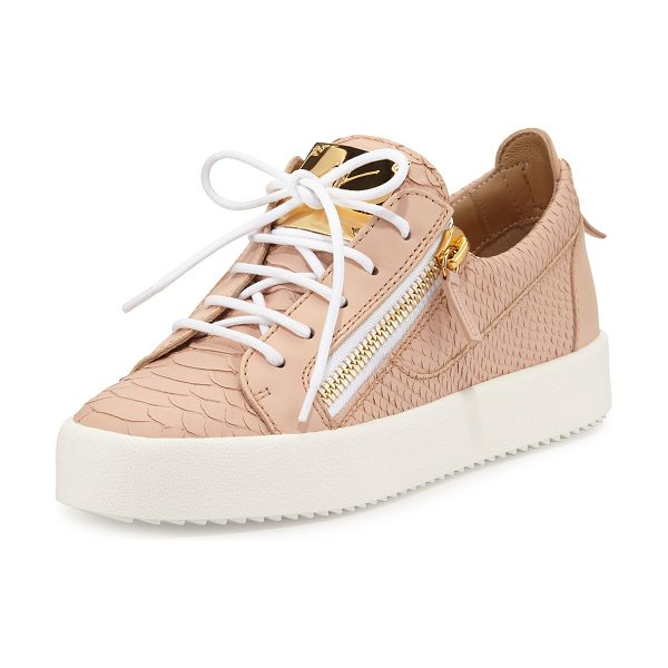 Giuseppe Zanotti May snake-embossed lace-up sneaker in flesh - Giuseppe Zanotti snake-embossed leather sneaker with...
