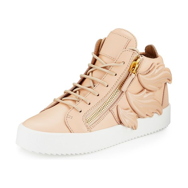 "Giuseppe Zanotti Maylondon Wings Side-Zip Sneaker in nude - Giuseppe Zanotti leather high-top sneaker. 1.3"" flat..."