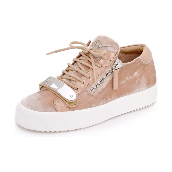 Giuseppe Zanotti maylondonmoc sneakers in tan - Plush velvet adds a luxe update to these signature...