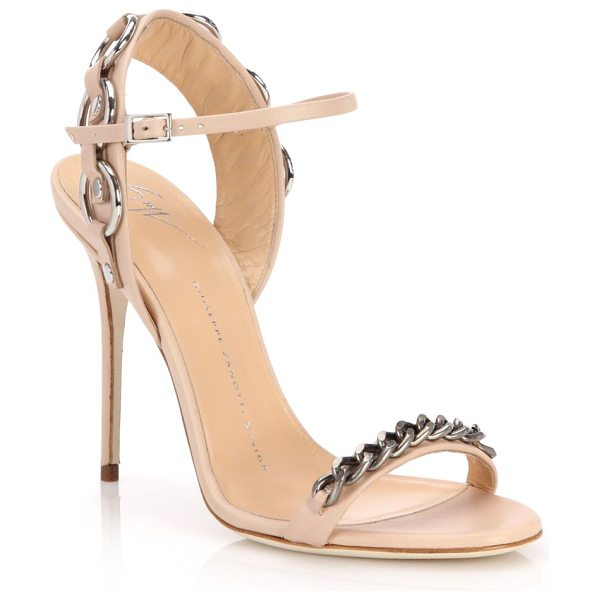 GIUSEPPE ZANOTTI Metal chain-trim sandals in nude - Gleaming metal chains trim edgy leather...
