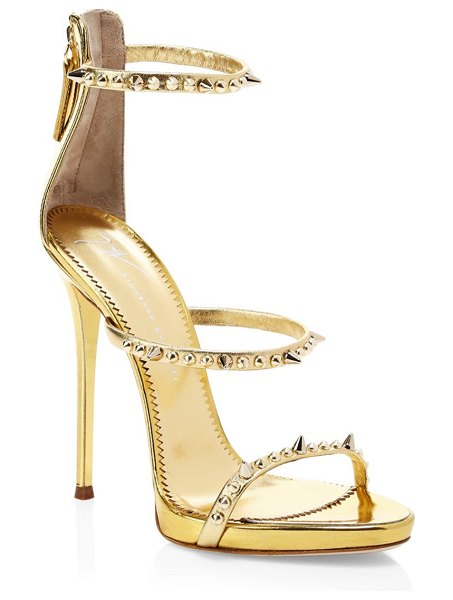 Giuseppe Zanotti metallic leather stud stilettos in gold - Metallic leather stilettos with a subtle platform sole,...