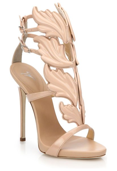 Giuseppe Zanotti Metallic leather wing sandals in nude - Crafted with an artful wing motif and cast in a gleaming...