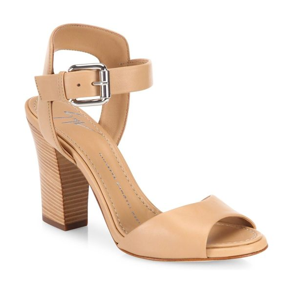 Giuseppe Zanotti emmanuelle leather peep toe sandals in beige - EXCLUSIVELY AT SAKS FIFTH AVENUE. Leather ankle-strap...