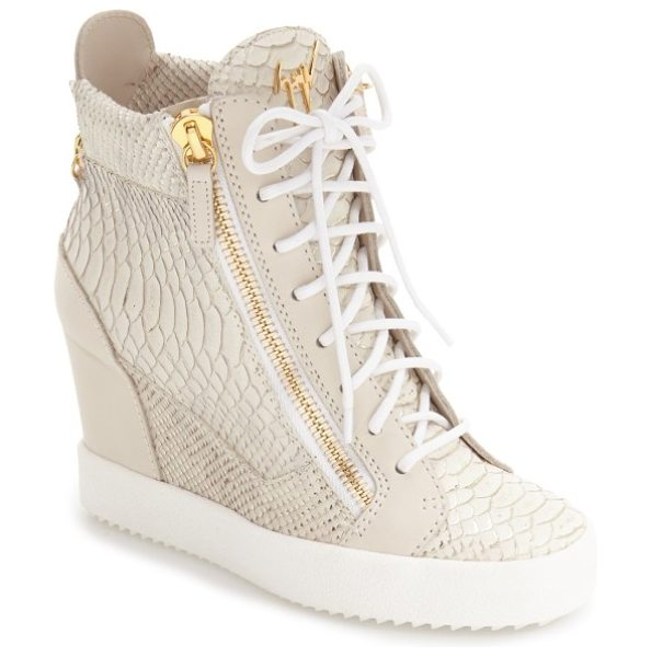Giuseppe Zanotti ofelia wedge sneaker in metallic silver leather - Metallic accents and a gleaming logo plate distinguish a...