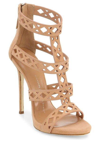 Giuseppe Zanotti perforated suede sandals in candy - Striking suede sandals with perforations on straps....