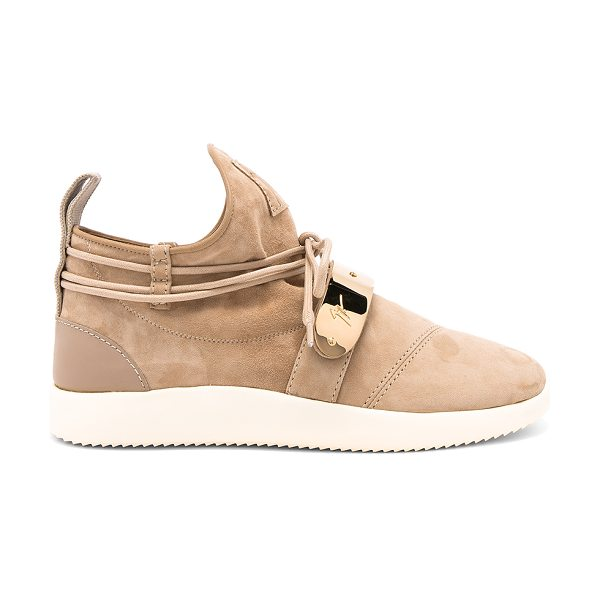 Giuseppe Zanotti Singles Sneaker in tan - Suede upper with rubber sole. Wrap around laces with tie...