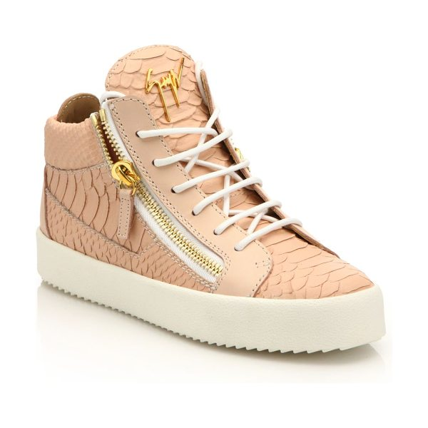 Giuseppe Zanotti Snake-embossed leather mid-top zip sneakers in pink - Edgy zips accent snake-embossed leather sneakerRubber...