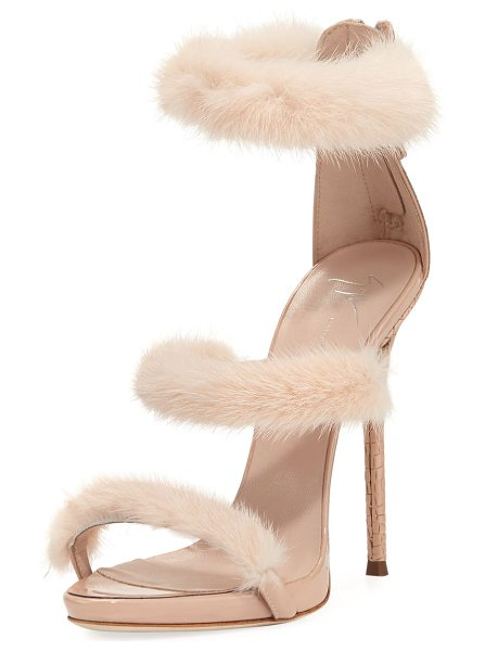 Giuseppe Zanotti Strappy Mink Fur 110mm Sandal in pink - Giuseppe Zanotti leather sandal with dyed mink fur...