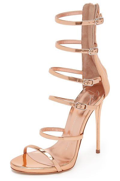 Giuseppe Zanotti Strappy sandals in rose gold - Mirrored leather composes the slim buckle straps on...