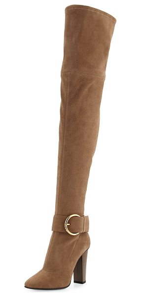 "GIUSEPPE ZANOTTI Stretch-Suede Buckle Over-the-Knee Boot - Giuseppe Zanotti stretch-suede over-the-knee boot. 4.3""..."