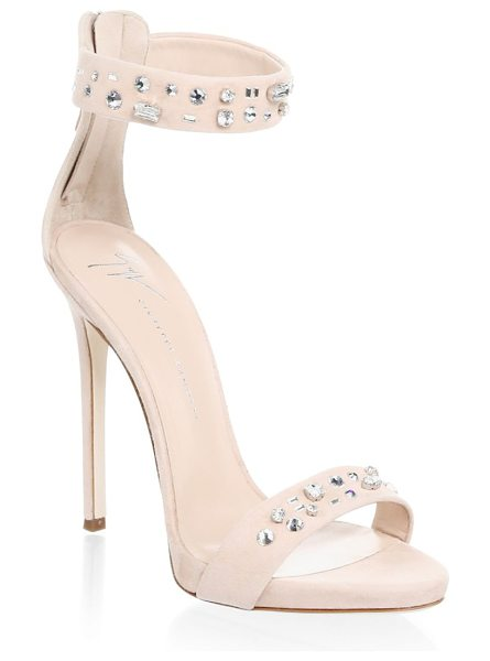 Giuseppe Zanotti stud suede ankle-strap sandals in rosa