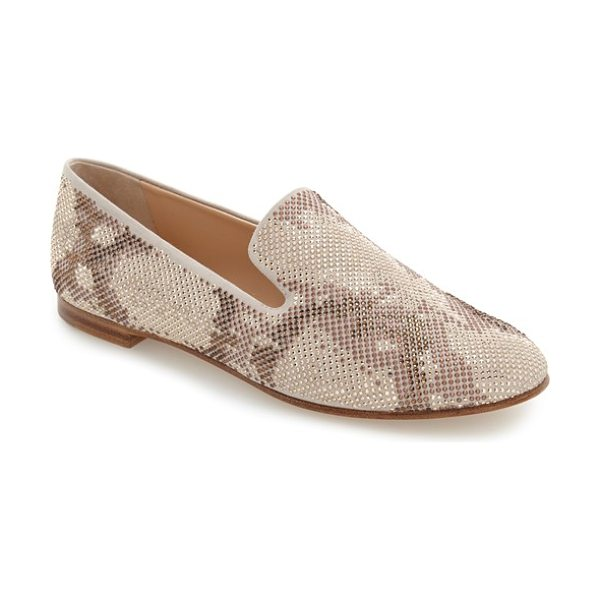Giuseppe Zanotti studded smoking slipper in nude multi suede - An abstract leopard print rendered in tiny gleaming...