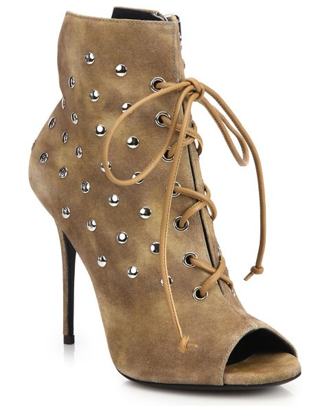 Giuseppe Zanotti studded suede lace-up booties in tan - Gleaming studs polish brushed suede lace-up bootie....