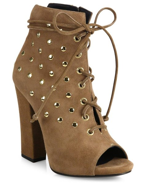 Giuseppe Zanotti studded suede lace-up peep toe booties in luggage - Studs polish suede peep-toe bootie with lace-up styling....