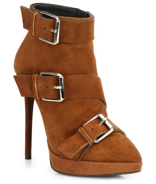 Giuseppe Zanotti Suede buckle booties in sigaro-brown - Edgy buckles and a towering heel upgrade these...