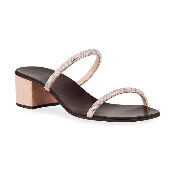 Giuseppe Zanotti Suede & Crystal Slide Sandals in pink