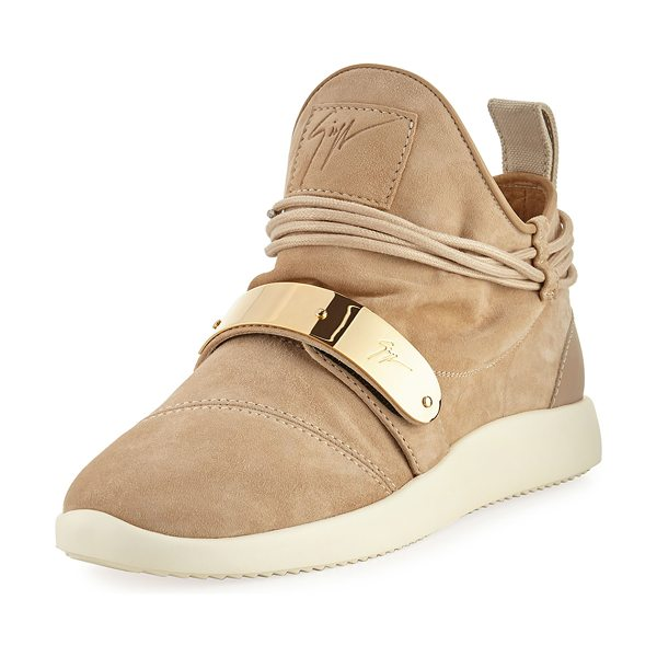 Giuseppe Zanotti Suede High-Top Sneaker in beige - Giuseppe Zanotti high-top suede sneaker. Flat heel with...
