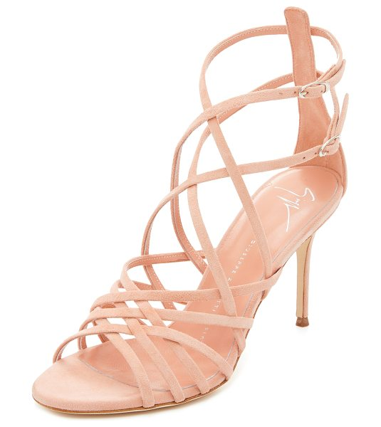 GIUSEPPE ZANOTTI Suede sandals in shell - Delicate suede straps crisscross these elegant Giuseppe...
