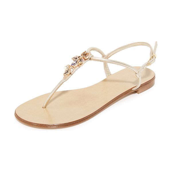 Giuseppe Zanotti thong sandals in sahara - Glittering Swarovski crystals detail the T-strap on...