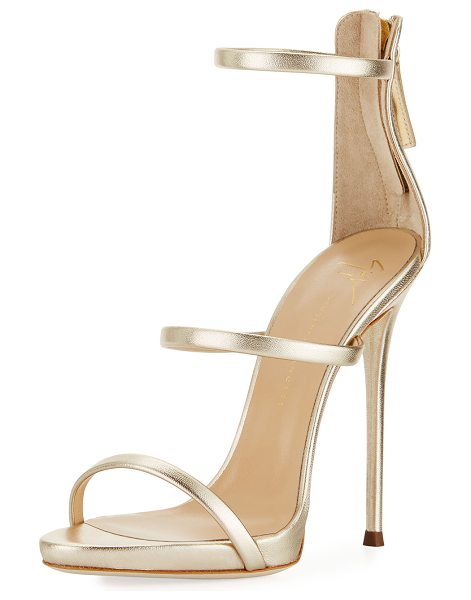 Giuseppe Zanotti Three-Strap 120mm Sandal in gold metallic ltr