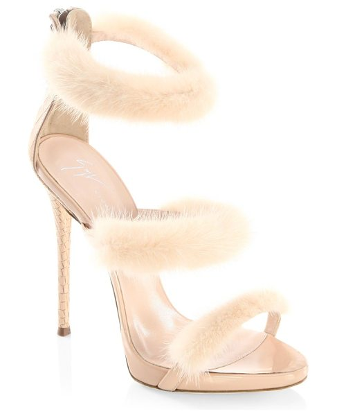 Giuseppe Zanotti triple mink fur band sandals in blush - Plush mink fur wraps svelte straps of sultry sandal....