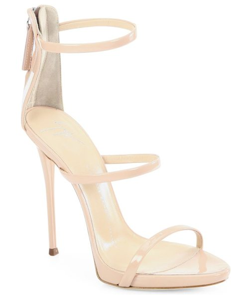 Giuseppe Zanotti triple-strap patent leather sandals in blush - Sultry patent leather with trio of slender straps....