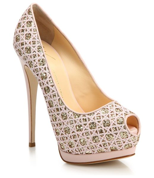 Giuseppe Zanotti Woven glitter peep-toe platform pumps in lightpink - Intricately woven pumps with metallic...