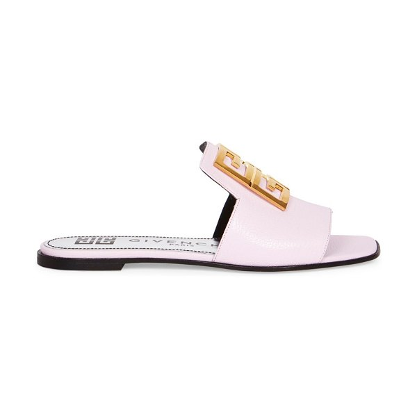 Givenchy 4g flat leather sandals in light pink