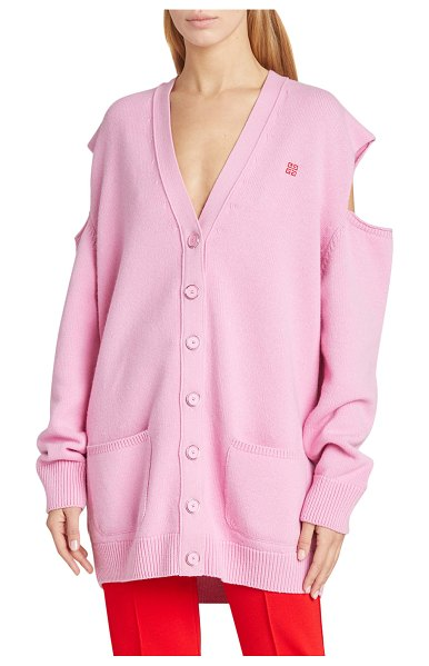 Givenchy 7GG Logo Jacquard Cardigan in pink/red