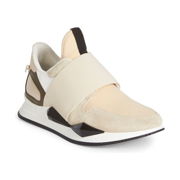 Givenchy active suede & patent leather sneakers in ecru - Chic mixed-media sneaker overlaid with elastic band....