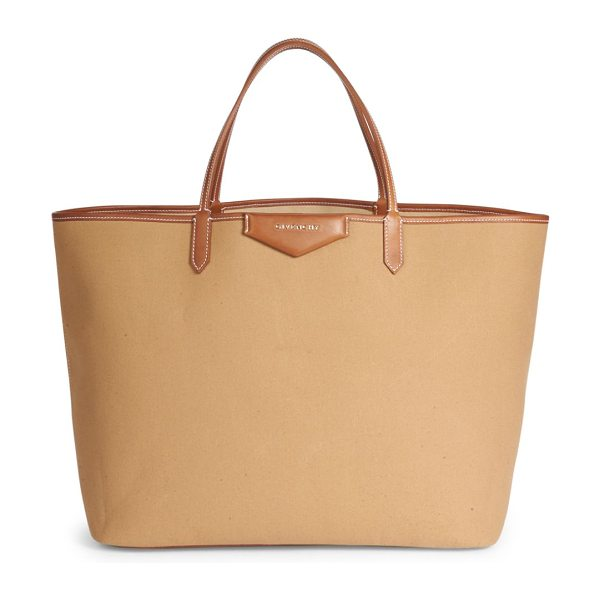 Givenchy antigona large canvas tote in beige - Spacious canvas tote with topstitched leather trim....