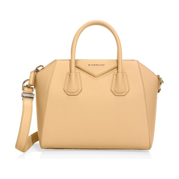 Givenchy antigona medium leather satchel in mediumbeige - An iconic silhouette crafted in luxe grained leather....