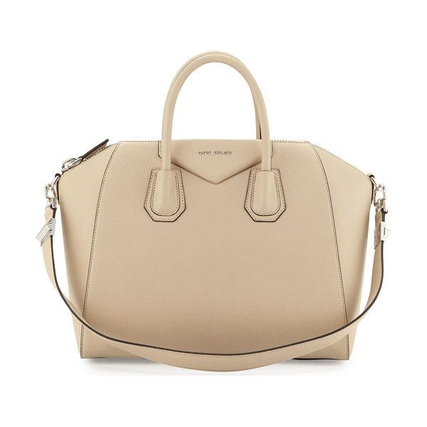 GIVENCHY Antigona medium leather satchel bag in beige buff -  Givenchy goatskin leather satchel with silvertone...