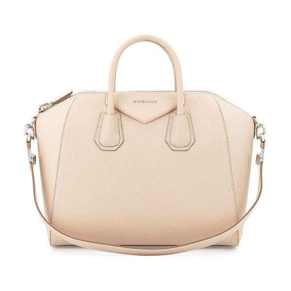 Givenchy Antigona medium leather satchel bag in nude pink - Givenchy goatskin leather satchel with with shiny...