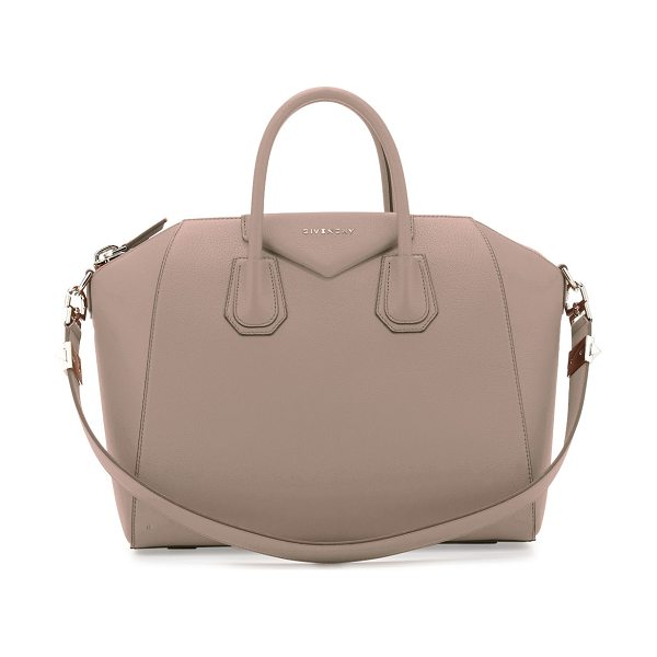 """Givenchy Antigona Medium Leather Satchel Bag in taupe gray - Givenchy bag in """"Sugar"""" grained goatskin with shiny..."""