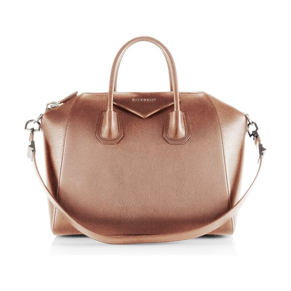 Givenchy Antigona medium leather satchel in sand - Sophisticated satchel crafted of sugar leather, which...