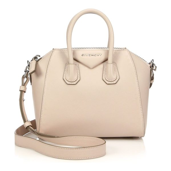 Givenchy Antigona mini leather satchel in nude - A sleek, sculptural silhouette defines the look of this...