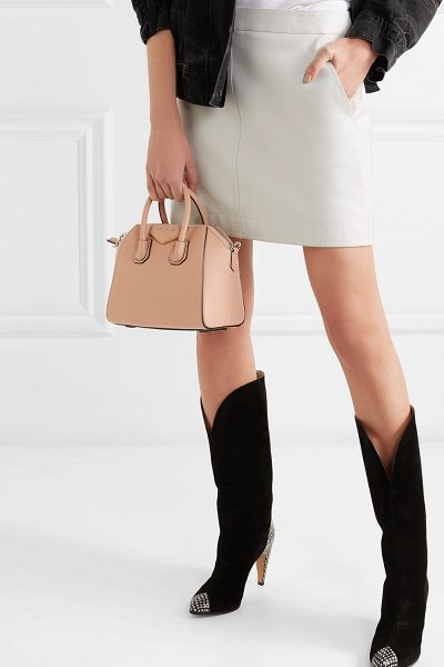 Givenchy antigona mini textured-leather tote in neutral - Givenchy's 'Antigona' bag is a cult favorite that will...