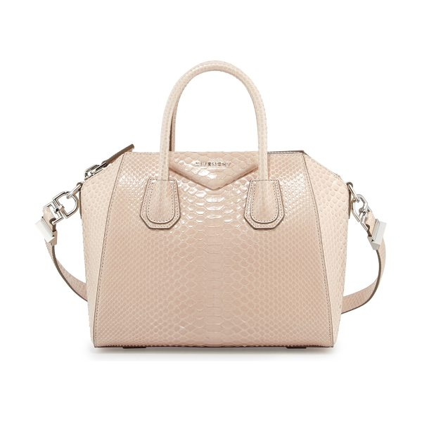 "Givenchy Antigona Shiny Python Small Satchel Bag in nude - Givenchy ""Antigona"" shiny python satchel bag. Rolled top..."