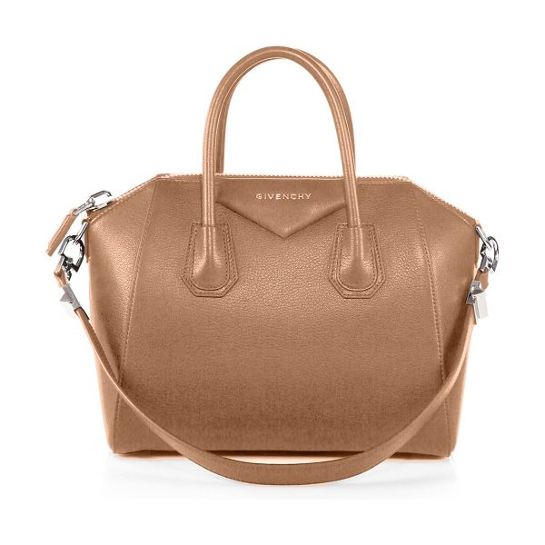 Givenchy Antigona small leather satchel in sand - Sophisticated satchel crafted of sugar leather, which...