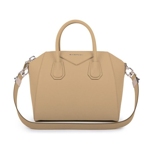 Givenchy Antigona small leather satchel in nude - Sophisticated satchel crafted of sugar leather, which...