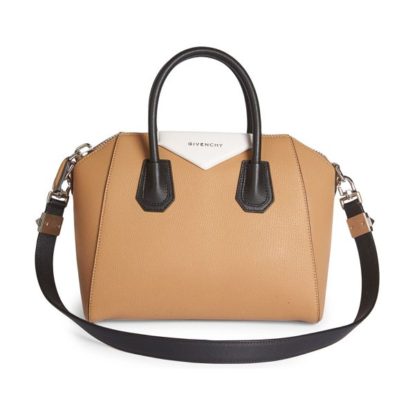 Givenchy antigona small tri-tone leather satchel in beige-black - Iconic structured satchel updated in tri-tone design....