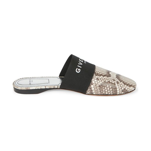 Givenchy bedford flat python-embossed leather mules in stone grey