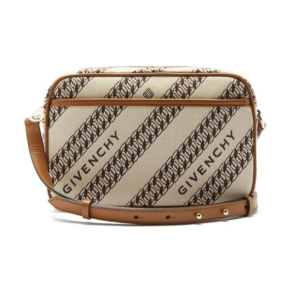 Givenchy bond chain-jacquard canvas camera bag in beige multi